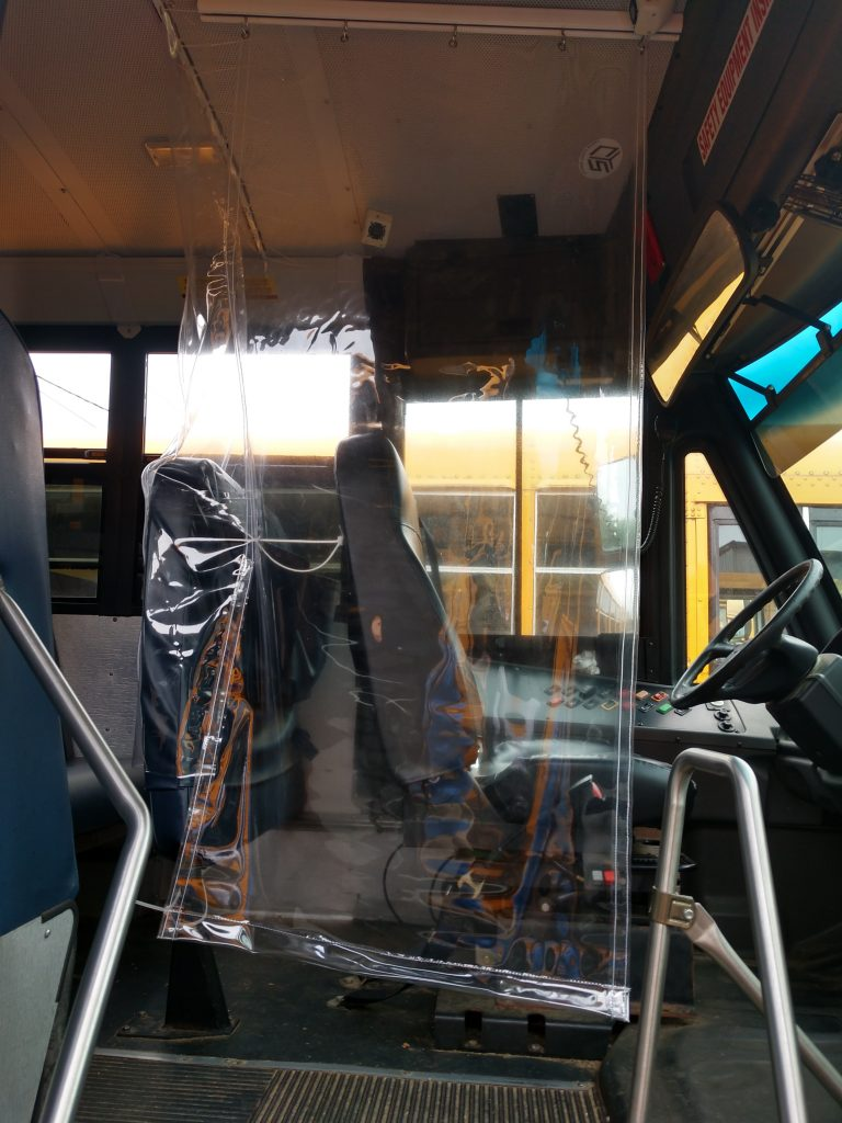 Side view of driver Transit Curtain